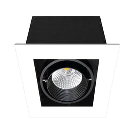 Faretto orientabile da incasso orientabile quadrato Chris in metallo, nero, LED integrato 750LM IP23 INSPIRE