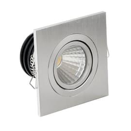 Faretto fisso da incasso orientabile quadrato Sylvie in alluminio, argento, 4.5x6cm LED integrato Lampadina non inclusaW 260LM IP20