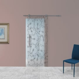 Porta scorrevole con binario esterno Blossom in vetro Kit Ermes L 88 x H 215 cm dx