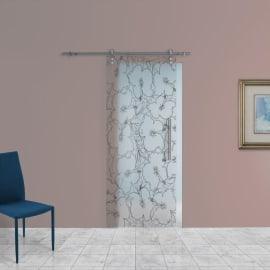 Porta scorrevole con binario esterno Blossom in vetro Kit Lux L 88 x H 215 cm sx