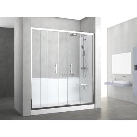 Box doccia rettangolare scorrevole 170 x 70 cm, H 190 cm in vetro temprato, spessore 6 mm trasparente grigio