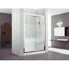 Box doccia rettangolare scorrevole 140 x 70 cm, H 190 cm in vetro temprato, spessore 6 mm serigrafato grigio