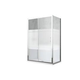 Box doccia rettangolare scorrevole 140 x 70 cm, H 190 cm in vetro temprato, spessore 6 mm serigrafato cromato