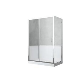 Box doccia rettangolare scorrevole 140 x 70 cm, H 190 cm in vetro temprato, spessore 6 mm trasparente grigio