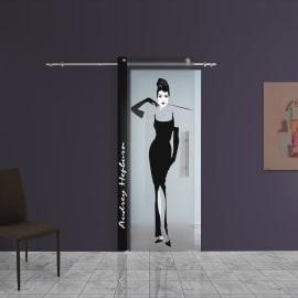 Porta scorrevole con binario esterno Audrey in vetro Kit B L 88 x H 220 cm sx