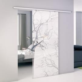Porta scorrevole con binario esterno Autumn in vetro Kit Atena L 86 x H 215 cm