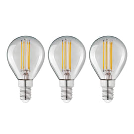 Lampadina Filamento LED E14 sferico bianco caldo 4W = 470LM (equiv 40W) 360° LEXMAN, 3 pezzi