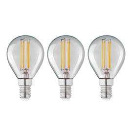 Lampadina Filamento LED E14 sferico bianco tenue 4W = 470LM (equiv 40W) 360° LEXMAN, 3 pezzi