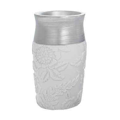 Bicchiere porta spazzolini Damasco in resina bianco