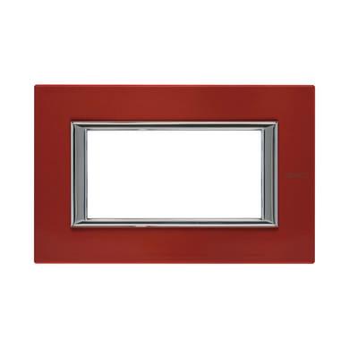 Placca BTICINO Axolute 4 moduli rosso china
