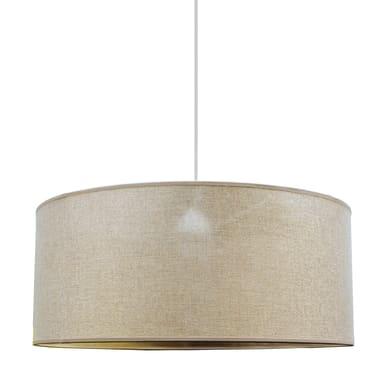 Lampadario Glamour Cilindro oro, tortora in tessuto, D. 48 cm