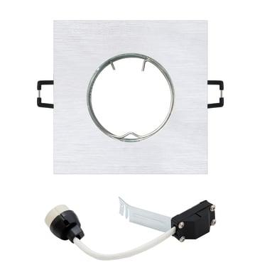 Faretto fisso da incasso quadrato Ispra  in Alluminio argento, GU10 MAX50W IP20 INSPIRE