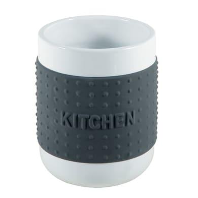 Porta posate in ceramica smaltata grigio 12 x 14 x 12 cm