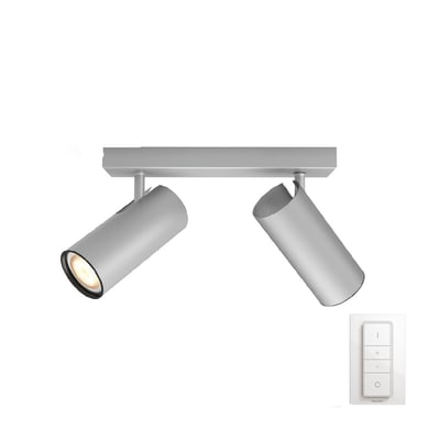 Barra di faretti Buratto nickel, in metallo, GU10 2x10W IP20 PHILIPS HUE