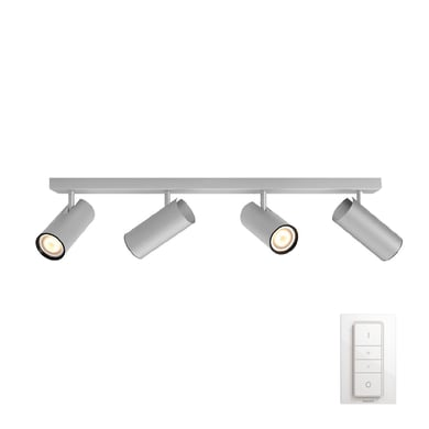 Barra di faretti Buratto nickel, in metallo, GU10 4x10W IP20 PHILIPS HUE