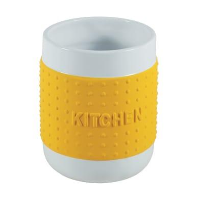 Porta posate in ceramica giallo 12 x 14 x 12 cm