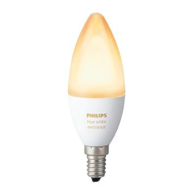 Lampadina smart lighting LED, HUE COLOR BLUETOOTH, E14, Oliva, Opaco, CCT, 6W=470LM (equiv 40 W), 220° , PHILIPS HUE