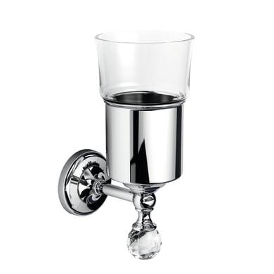 Bicchiere porta spazzolini Madras oriente in vetro cromo e trasparente