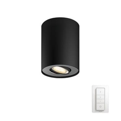 Faretto singolo Pillar nero, in metallo, LED integrato 50W 250LM IP20 PHILIPS HUE