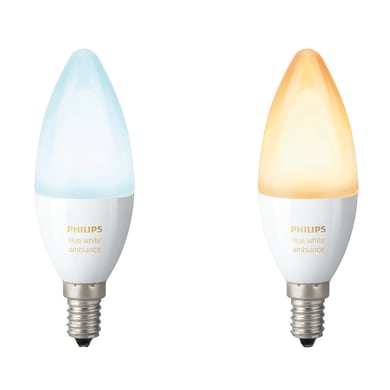 Lampadina LED E14, Oliva, Opaco, Colore cangiante, RGB, 6W=470LM (equiv 40 W), 220° , PHILIPS HUE , set di 2 pezzi