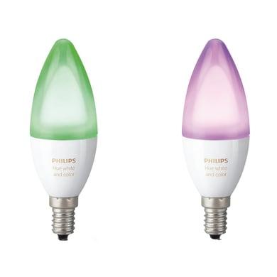 Lampadina LED E14, Oliva, Opaco, Colore cangiante, RGB, 6.5W=470LM (equiv 40 W), 220° , PHILIPS HUE , set di 2 pezzi