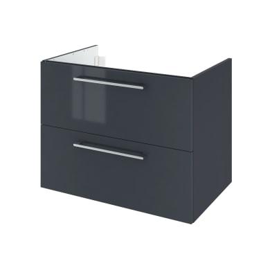 Mobile lavabo L 75 x P 48 x H 58 cm in agglomerato grigio