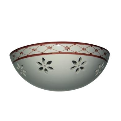 Applique romantic charm Circe bianco e rosso, in ceramica,  D. 30 cm