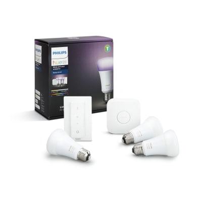 Lampadina LED E27, Goccia, Trasparente, Bianco, Luce fredda, 10W=806LM (equiv 60 W), 220° , PHILIPS HUE , set di 3 pezzi