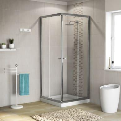 Box doccia quadrato scorrevole Dado 80 x 79 cm, H 185 cm in vetro temprato, spessore 5 mm trasparente cromato