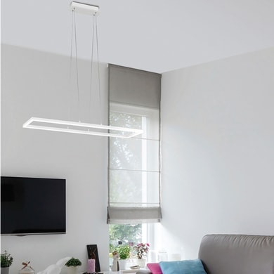 Lampadario Design Skyline LED integrato bianco, in acrilico, L. 92 cm, LA MIA LUCE