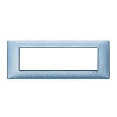 Placca Plana VIMAR 7 moduli blu metallizzato