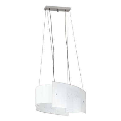 Lampadario Classico Scinty bianco in vetro, L. 59 cm, 2 luci, NOVECENTO