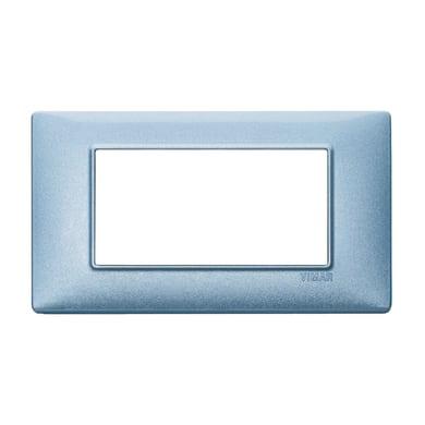Placca Plana VIMAR 4 moduli blu metallizzato