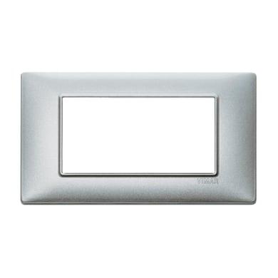 Placca VIMAR Plana 4 moduli argento metallizzato