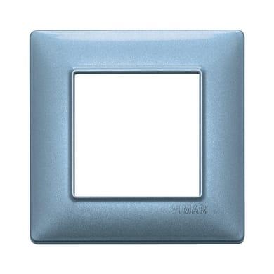 Placca Plana VIMAR 2 moduli blu metallizzato