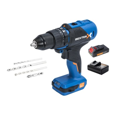 Trapano a batteria con percussione brushless DEXTER DX 20V-60 BLHDD 18 V, 2.5 Ah, 2 batterie