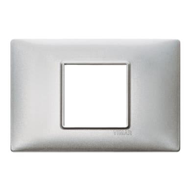 Placca VIMAR Plana 2 moduli argento metallizzato