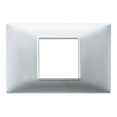 Placca VIMAR Plana 2 moduli argento opaco