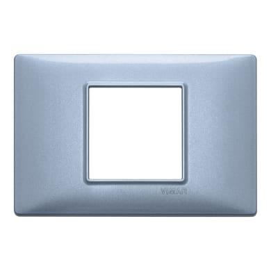Placca VIMAR Plana 2 moduli blu metallizzato