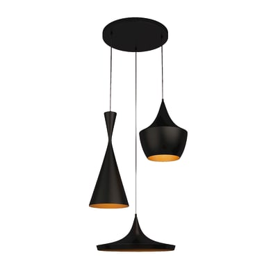 Lampadario Design Metal Black nero, oro in metallo, L. 55 cm, 3 luci