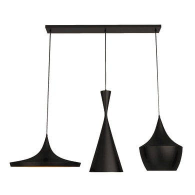 Lampadario Design Metal Black nero, oro in metallo, L. 100 cm, 3 luci