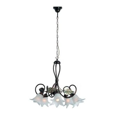 Lampadario Rustico Mirella Eco bianco in metallo, D. 60 cm, 5 luci, NOVECENTO