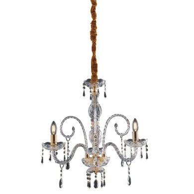 Lampadario Neoclassico Monalisa oro, trasparente in vetro, D. 53 cm, L. 70 cm, 3 luci, FAN EUROPE