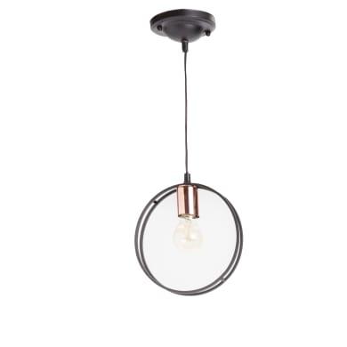 Lampadario Design Ring nero, rame in metallo, D. 24 cm