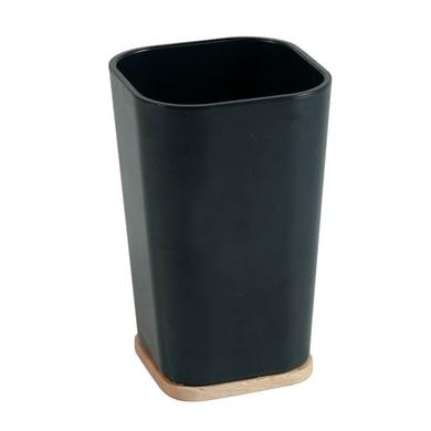 Bicchiere porta spazzolini Scandi in plastica nero