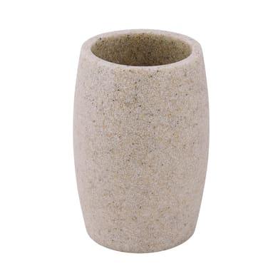Bicchiere porta spazzolini Sand in poliresina beige
