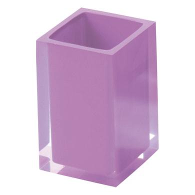 Bicchiere porta spazzolini Rainbow in resina lilla