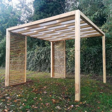 Gazebo legno PERGOLA CUBE 310X310CM bianco L 90 cm x P 310 cm, H 2.36 m
