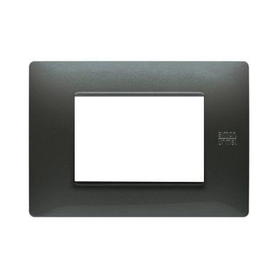 Placca SIMON URMET Nea Flexa 3 moduli acciaio scuro