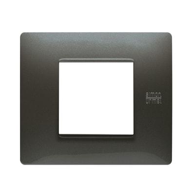 Placca Nea Flexa SIMON URMET 2 moduli acciaio scuro